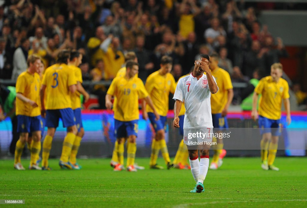 <a gi-track='captionPersonalityLinkClicked' href=/galleries/search?phrase=Raheem+Sterling&family=editorial&specificpeople=6489439 ng-click='$event.stopPropagation()'>Raheem Sterling</a> looks dejected after the first Sweden goal during the international friendly match between Sweden and England at the Friends Arena on November 14, 2012 in Stockholm, Sweden.