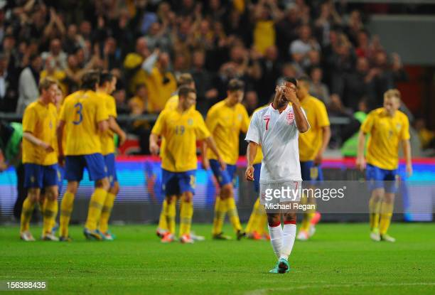 Raheem Sterling looks dejected after the first Sweden goal during the international friendly match between Sweden and England at the Friends Arena on...