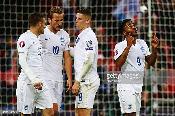 Raheem Sterling of England celebrates after scoring the second goal with Jamie Vardy Harry Kane and Ross Barkley during the UEFA EURO 2016 Group E...