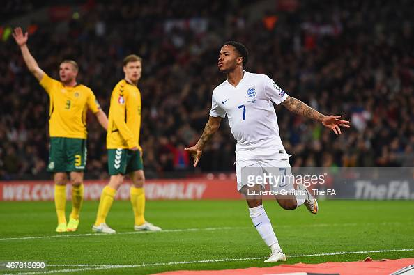 Raheem Sterling of England celebrates scoring their third goal during the EURO 2016 Qualifier between England and Lithuania at Wembley Stadium on...