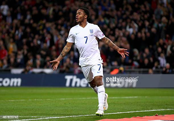 Raheem Sterling of England celebrates the third goal during the EURO 2016 Qualifier match between England and Lithuania at Wembley Stadium on March...