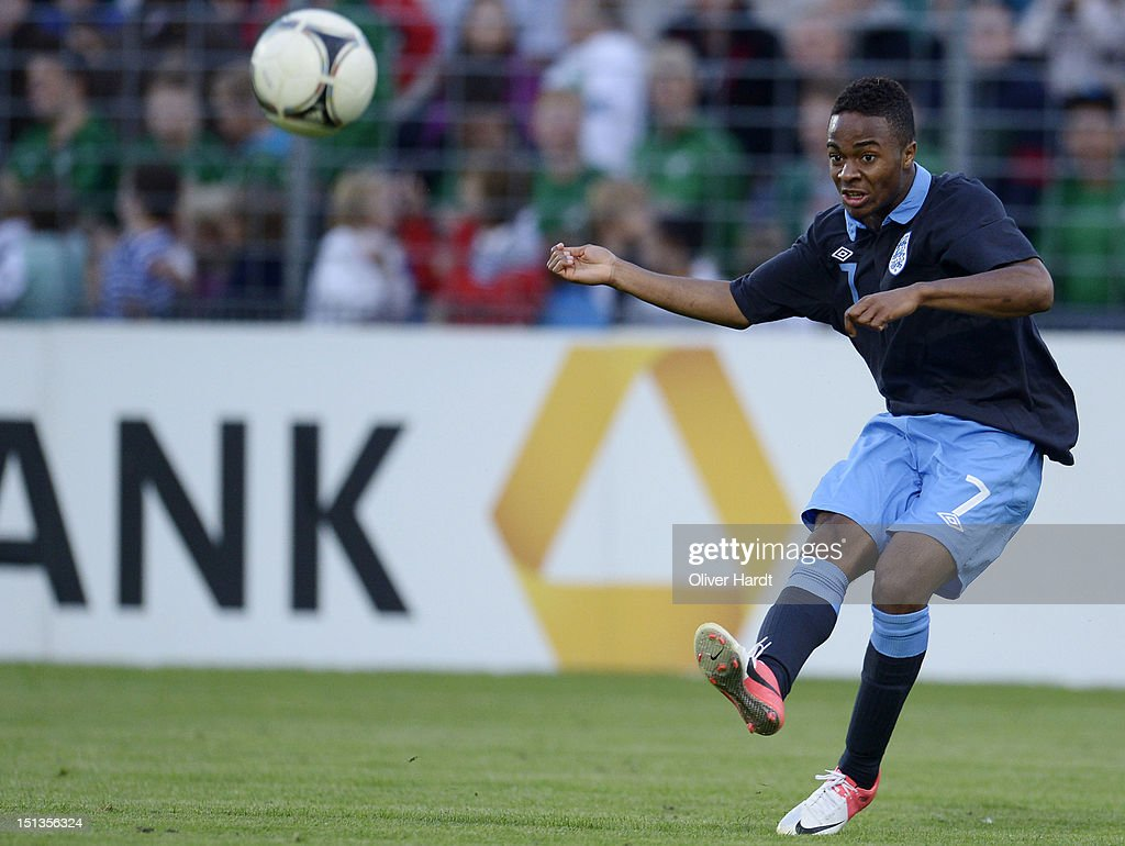 Raheem Sterling of England during the Under 19 international friendly match between Germany and England at Stadion an der Lohmuehle on September 6, 2012 in Luebeck, Germany.