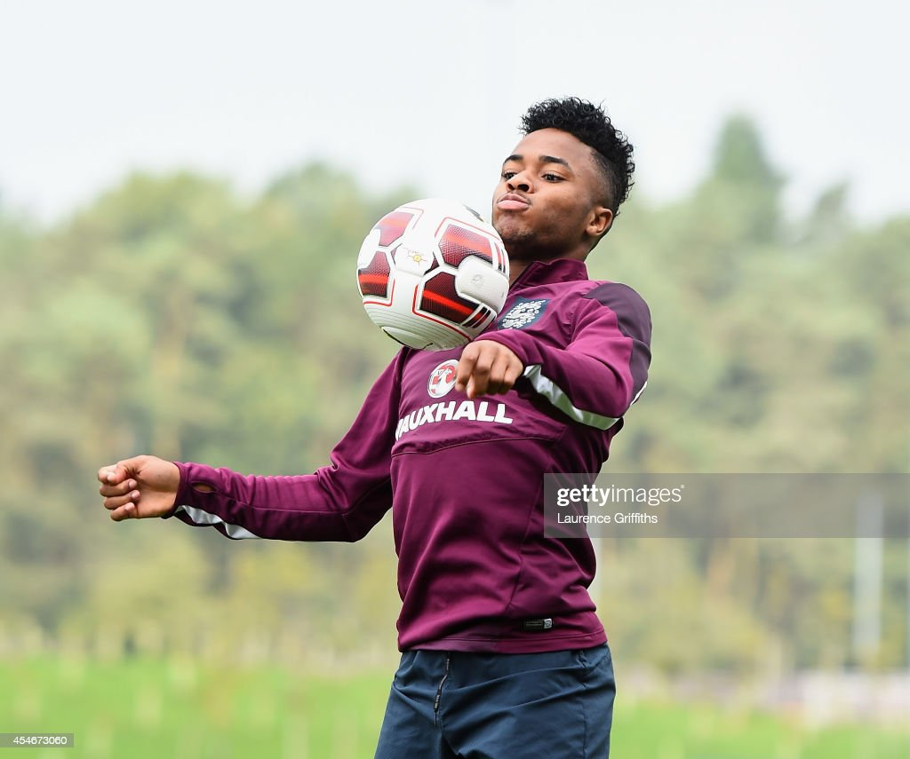 <a gi-track='captionPersonalityLinkClicked' href=/galleries/search?phrase=Raheem+Sterling&family=editorial&specificpeople=6489439 ng-click='$event.stopPropagation()'>Raheem Sterling</a> of England in action during a training session at St Georges Park on September 5, 2014 in Burton-upon-Trent, England.