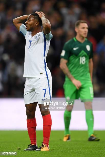 Raheem Sterling of England reacts after a missed chance during the FIFA 2018 World Cup Group F Qualifier between England and Slovenia at Wembley...