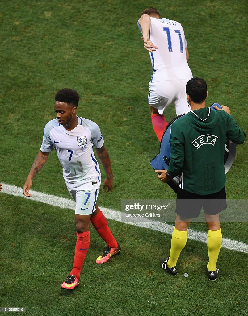 <a gi-track='captionPersonalityLinkClicked' href=/galleries/search?phrase=Raheem+Sterling&family=editorial&specificpeople=6489439 ng-click='$event.stopPropagation()'>Raheem Sterling</a> of England reacts after replaced by <a gi-track='captionPersonalityLinkClicked' href=/galleries/search?phrase=Jamie+Vardy&family=editorial&specificpeople=8695606 ng-click='$event.stopPropagation()'>Jamie Vardy</a> during the UEFA EURO 2016 round of 16 match between England and Iceland at Allianz Riviera Stadium on June 27, 2016 in Nice, France.
