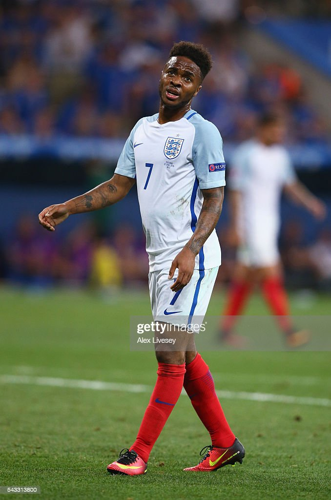 <a gi-track='captionPersonalityLinkClicked' href=/galleries/search?phrase=Raheem+Sterling&family=editorial&specificpeople=6489439 ng-click='$event.stopPropagation()'>Raheem Sterling</a> of England reacts during the UEFA EURO 2016 round of 16 match between England and Iceland at Allianz Riviera Stadium on June 27, 2016 in Nice, France.