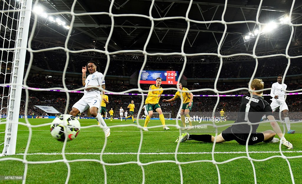 Raheem Sterling of England scores his team's third goal during the EURO 2016 Qualifier match between England and Lithuania at Wembley Stadium on...