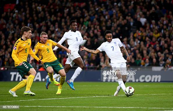 Raheem Sterling of England scores the third goal during the EURO 2016 Qualifier match between England and Lithuania at Wembley Stadium on March 27...