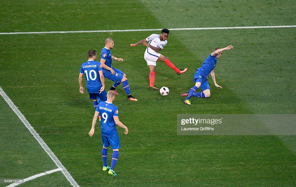 <a gi-track='captionPersonalityLinkClicked' href=/galleries/search?phrase=Raheem+Sterling&family=editorial&specificpeople=6489439 ng-click='$event.stopPropagation()'>Raheem Sterling</a> (2nd R) of England shoots at goal during the UEFA EURO 2016 round of 16 match between England and Iceland at Allianz Riviera Stadium on June 27, 2016 in Nice, France.