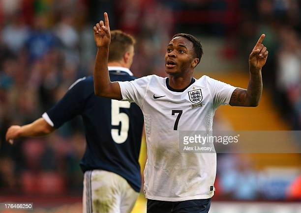 Raheem Sterling of England U21 celebrates after scoring the second goal during the Kick It Out International between England U21 and Scotland U21 at...