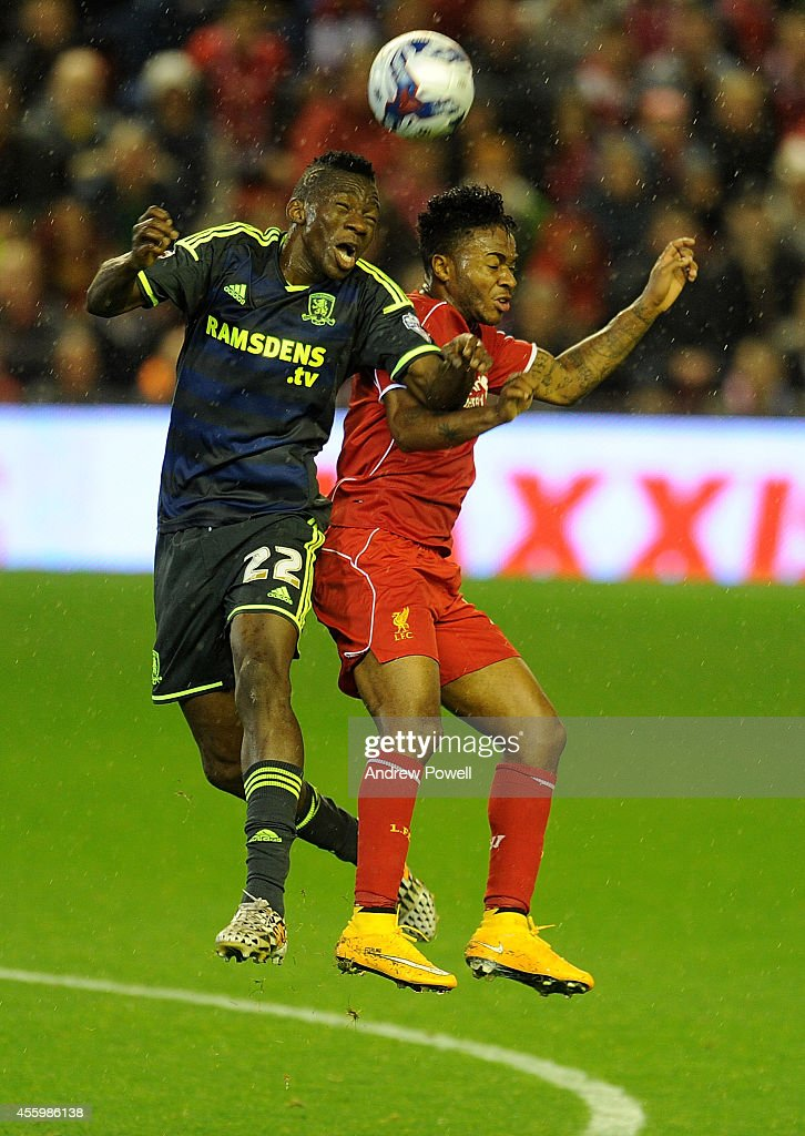 <a gi-track='captionPersonalityLinkClicked' href=/galleries/search?phrase=Raheem+Sterling&family=editorial&specificpeople=6489439 ng-click='$event.stopPropagation()'>Raheem Sterling</a> of Liverpool and <a gi-track='captionPersonalityLinkClicked' href=/galleries/search?phrase=Kenneth+Omeruo&family=editorial&specificpeople=6392838 ng-click='$event.stopPropagation()'>Kenneth Omeruo</a> of Middlesbrough compete during the Capital One Cup Third Round match between Liverpool and Middlesbrough at Anfield on September 23, 2014 in Liverpool, England.