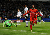 Raheem Sterling of Liverpool celebrates after scoring during the FA Cup Fourth Round Replay match between Bolton Wanderers and Liverpool at Macron...