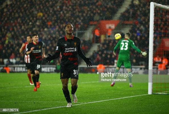 Raheem Sterling of Liverpool celebrates after scoring his team's second goal during the Barclays Premier League match between Southampton and...