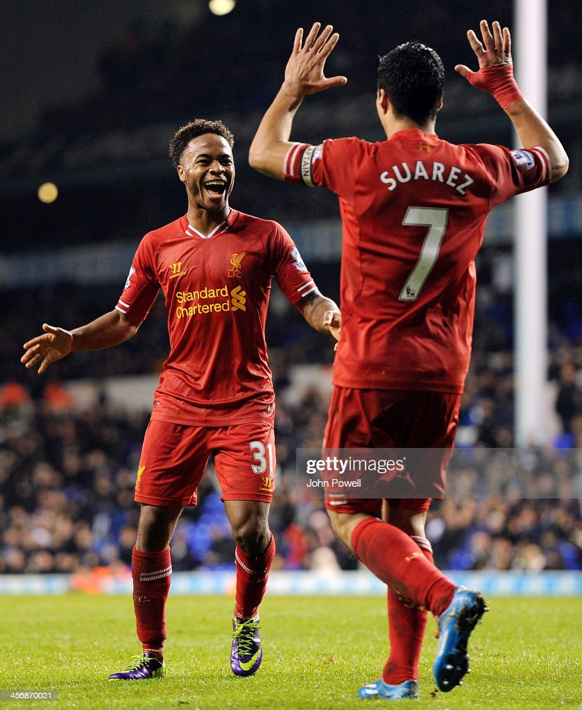 <a gi-track='captionPersonalityLinkClicked' href=/galleries/search?phrase=Raheem+Sterling&family=editorial&specificpeople=6489439 ng-click='$event.stopPropagation()'>Raheem Sterling</a> of Liverpool celebrates after scoring the fifth goal during the Barclays Premier Leauge match between Tottenham Hotspur and Liverpool at White Hart Lane on December 15, 2013 in London, England.