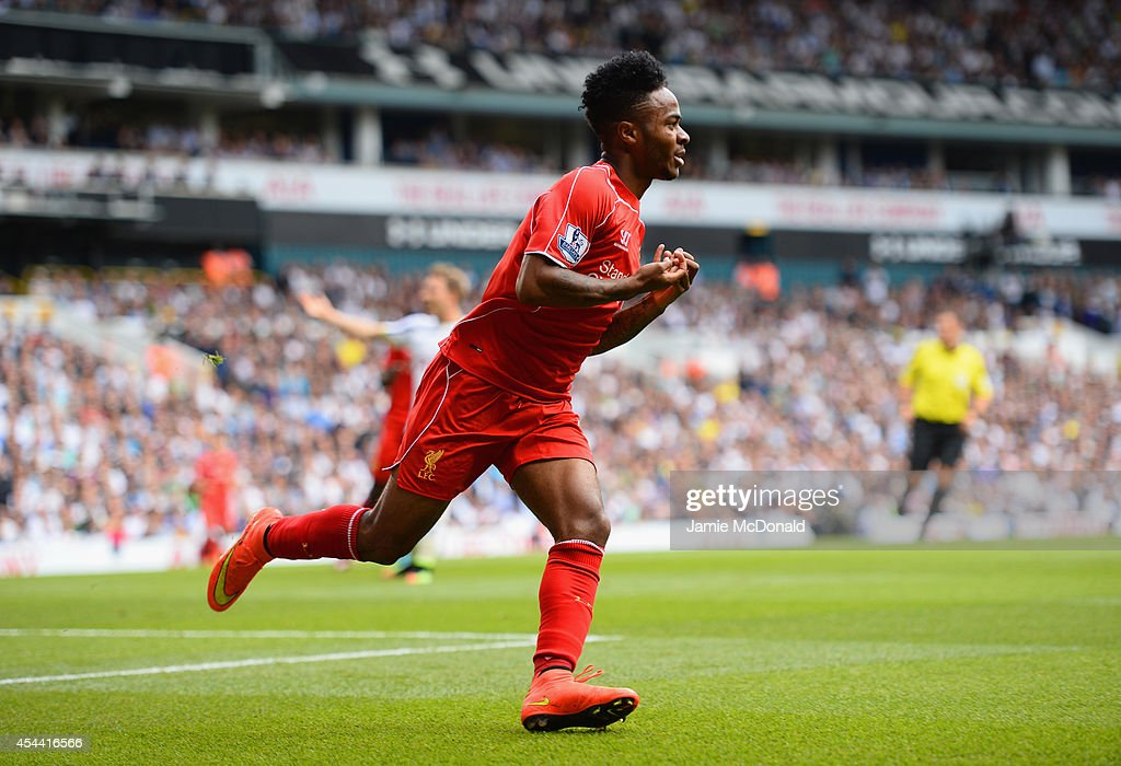 <a gi-track='captionPersonalityLinkClicked' href=/galleries/search?phrase=Raheem+Sterling&family=editorial&specificpeople=6489439 ng-click='$event.stopPropagation()'>Raheem Sterling</a> of Liverpool celebrates scoring the opening goal during the Barclays Premier League match between Tottenham Hotspur and Liverpool at White Hart Lane on August 31, 2014 in London, England.