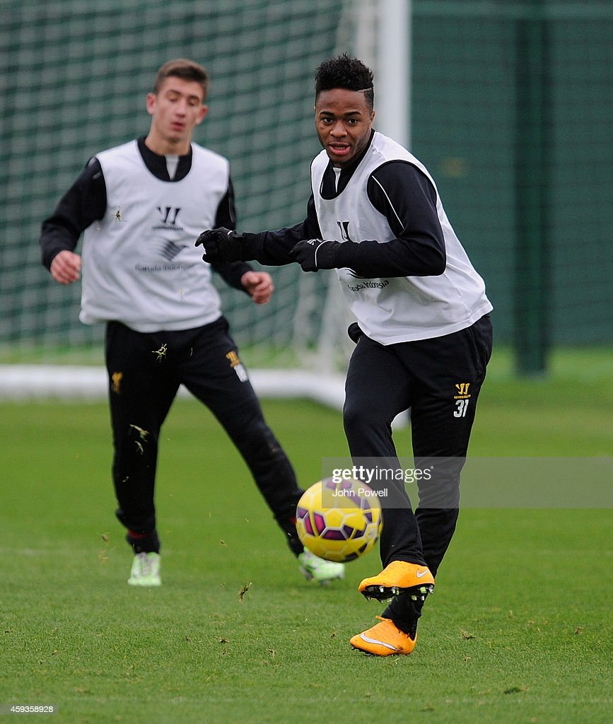 Raheem Sterling of Liverpool during a training session at Melwood Training Ground on November 21, 2014 in Liverpool, England.