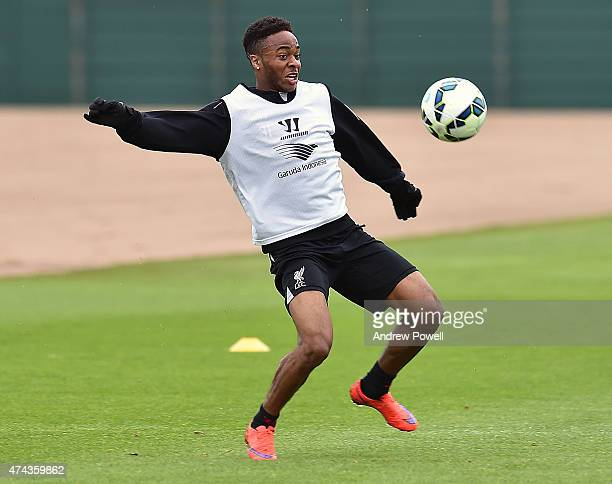 Raheem Sterling of Liverpool during a training session at Melwood Training Ground on May 22 2015 in Liverpool England