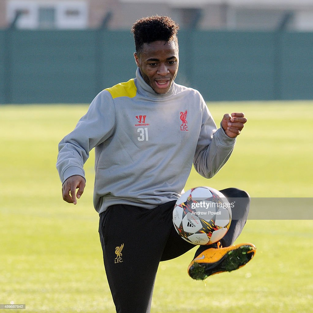 Raheem Sterling of Liverpool during a training session prior the match between PFC Ludogorets Razgrad and Liverpool at Melwood Training Ground on November 25, 2014 in Liverpool, England.