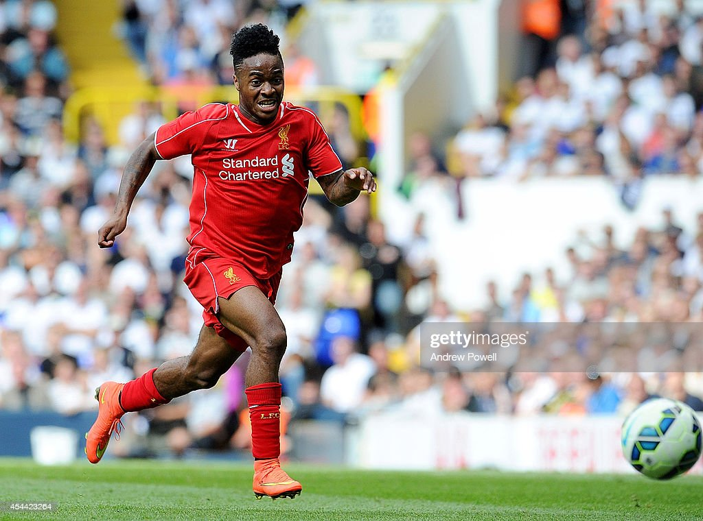 Raheem Sterling of Liverpool during the Barclays Premier League match between Tottenham Hotspur and Liverpool at White Hart Lane on August 31, 2014 in London, England.