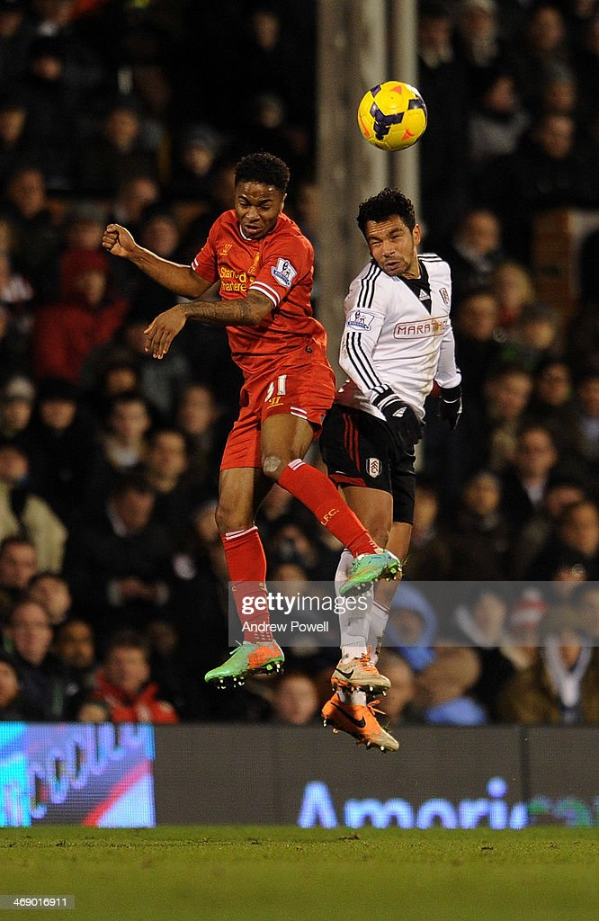 <a gi-track='captionPersonalityLinkClicked' href=/galleries/search?phrase=Raheem+Sterling&family=editorial&specificpeople=6489439 ng-click='$event.stopPropagation()'>Raheem Sterling</a> of Liverpool goes up with <a gi-track='captionPersonalityLinkClicked' href=/galleries/search?phrase=Kieran+Richardson+-+Soccer+Player&family=editorial&specificpeople=208833 ng-click='$event.stopPropagation()'>Kieran Richardson</a> of Fulham during the Barclays Premier Leauge match between Fulham and Liverpool at Craven Cottage on February 12, 2014 in London, England.