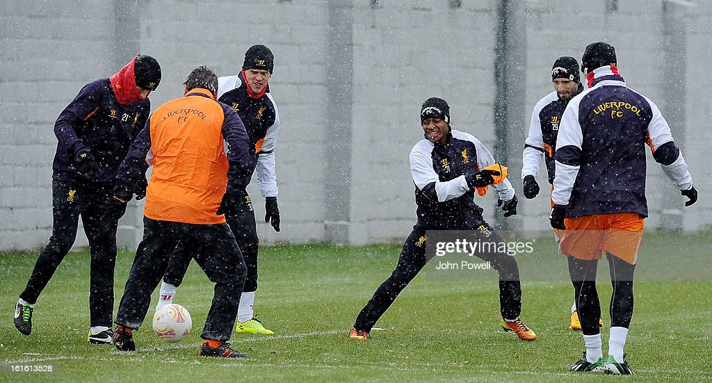 Raheem Sterling of Liverpool in action during a training session at Melwood Training Ground on February 13, 2013 in Liverpool, England.