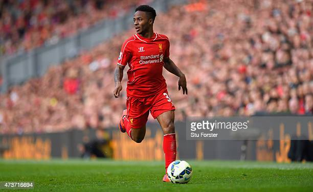 Raheem Sterling of Liverpool in action during the Barclays Premier League match betrween Liverpool and Crystal Palace at Anfield on May 16 2015 in...