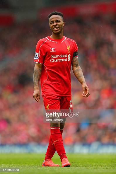 Raheem Sterling of Liverpool in actoin during the Barclays Premier League match between Liverpool and Queens Park Rangers at Anfield on May 2 2015 in...