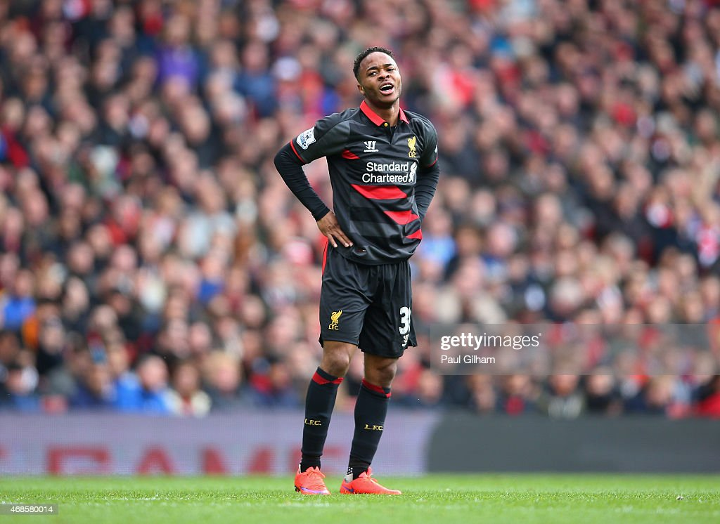 <a gi-track='captionPersonalityLinkClicked' href=/galleries/search?phrase=Raheem+Sterling&family=editorial&specificpeople=6489439 ng-click='$event.stopPropagation()'>Raheem Sterling</a> of Liverpool reacts after a missed opportunity during the Barclays Premier League match between Arsenal and Liverpool at Emirates Stadium on April 4, 2015 in London, England.