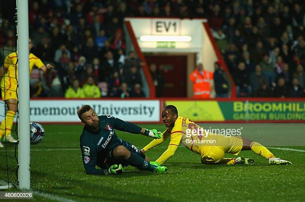 Raheem Sterling of Liverpool scores the opening goal during the Capital One Cup QuarterFinal match between Bournemouth and Liverpool at Goldsands...