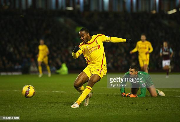 Raheem Sterling of Liverpool scores the opening goal during the Barclays Premier League match between Burnley and Liverpool at Turf Moor on December...
