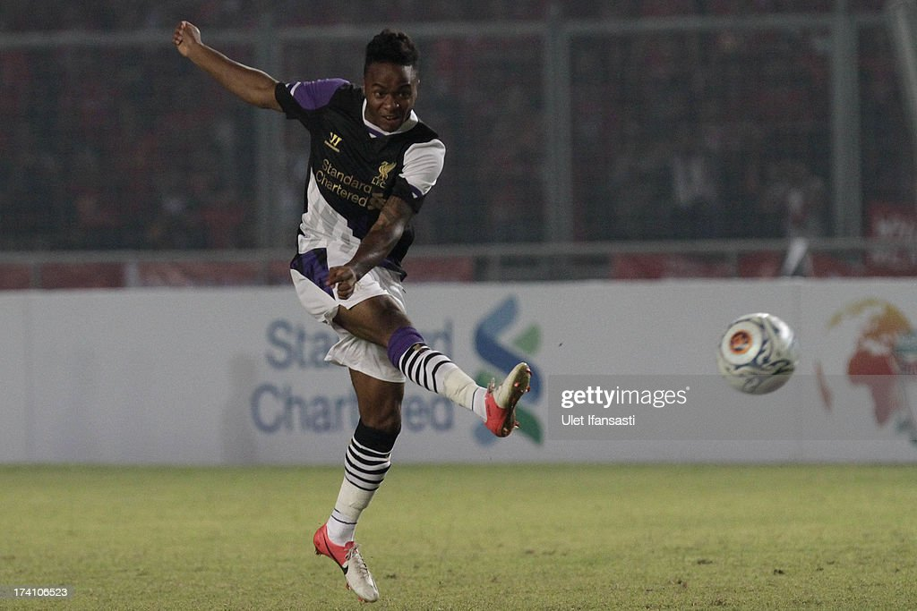 Raheem Sterling of Liverpool shooting the ball during the match between the Indonesia XI and Liverpool FC on July 20, 2013 in Jakarta, Indonesia.