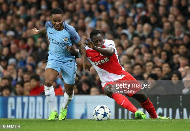 Raheem Sterling of Manchester City and Benjamin Mendy of Monaco in action during the UEFA Champions League Round of 16 first leg match between...