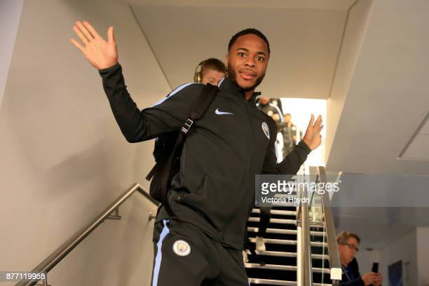 Raheem Sterling of Manchester City arrives prior to the UEFA Champions League group F match between Manchester City and Feyenoord at Etihad Stadium...