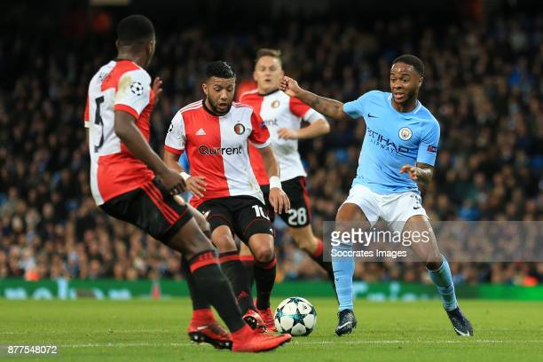 Raheem Sterling of Manchester City battles with a rio of Feyenoord defenders including Tonny Vilhena during the UEFA Champions League match between...