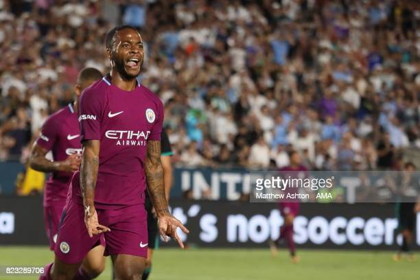 Raheem Sterling of Manchester City celebrates after scoring a goal to make it 20 during the International Champions Cup 2017 match between Manchester...