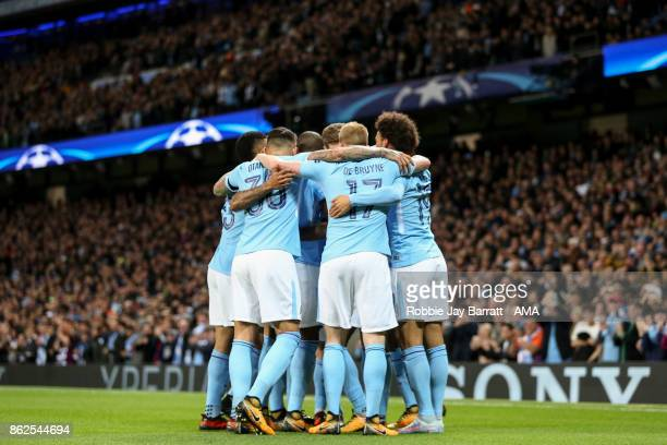 Raheem Sterling of Manchester City celebrates after scoring a goal to make it 10 during the UEFA Champions League group F match between Manchester...