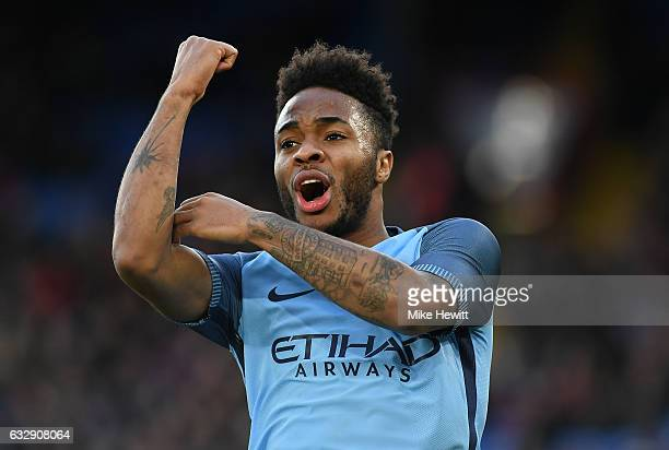 Raheem Sterling of Manchester City celebrates after scoring his sides first goal during the Emirates FA Cup Fourth Round match between Crystal Palace...