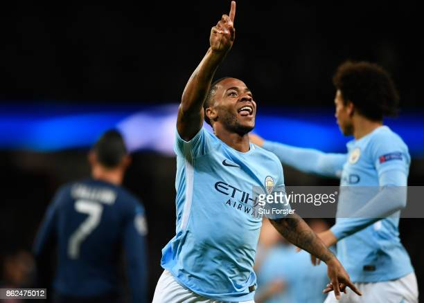 Raheem Sterling of Manchester City celebrates after scoring his sides first goal during the UEFA Champions League group F match between Manchester...