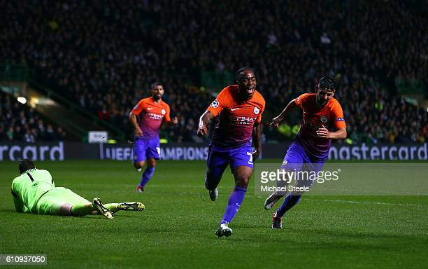 Raheem Sterling of Manchester City celebrates after scoring his team's second goal during the UEFA Champions League group C match between Celtic FC...