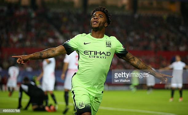 Raheem Sterling of Manchester City celebrates as he scores their first goal during the UEFA Champions League Group D match between Sevilla FC and...