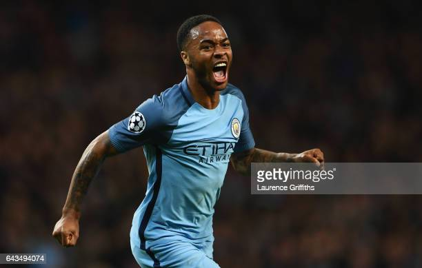 Raheem Sterling of Manchester City celebrates as he scores their first goal during the UEFA Champions League Round of 16 first leg match between...