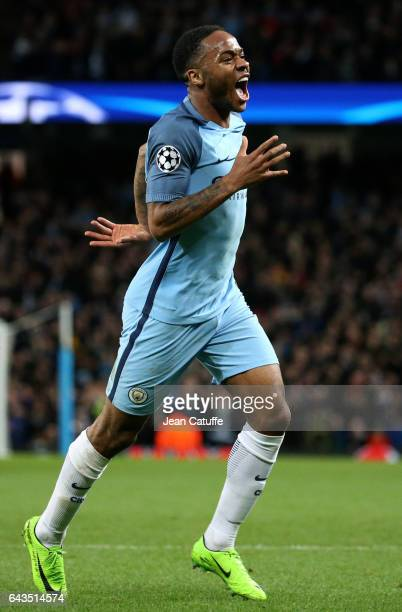 Raheem Sterling of Manchester City celebrates his goal during the UEFA Champions League Round of 16 first leg match between Manchester City FC and AS...