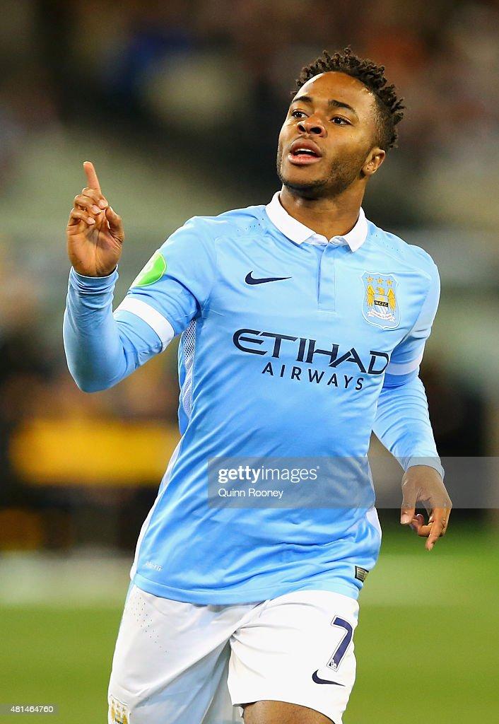 Raheem Sterling of Manchester City celebrates scoring a ...