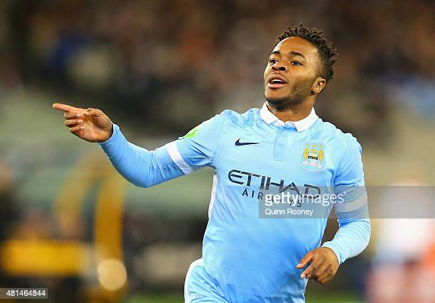 Raheem Sterling of Manchester City celebrates scoring a goal during the International Champions Cup friendly match between Manchester City and AS...