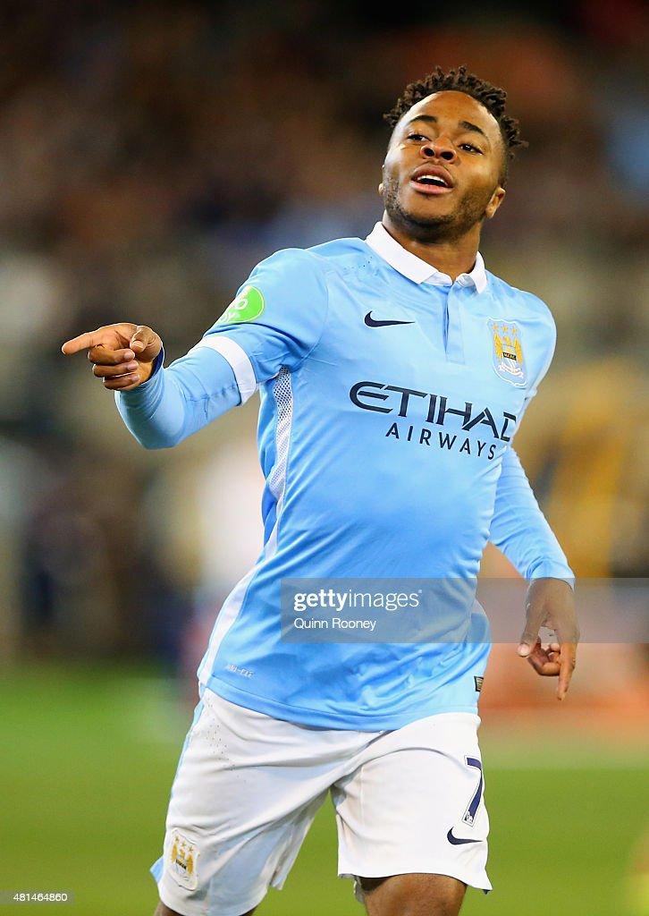 Raheem Sterling of Manchester City celebrates scoring a goal during the International Champions Cup friendly match between Manchester City and AS Roma at the Melbourne Cricket Ground on July 21, 2015 in Melbourne, Australia.