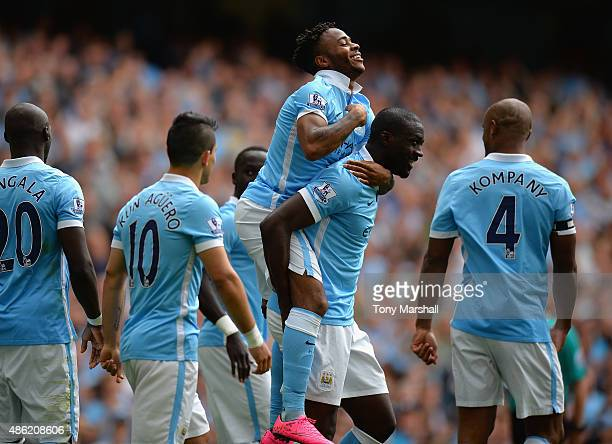 Raheem Sterling of Manchester City celebrates scoring his first goal for Manchester City during the Barclays Premier League match between Manchester...