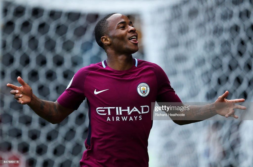 Raheem Sterling of Manchester City celebrates scoring his sides sixth goal during the Premier League match between Watford and Manchester City at Vicarage Road on September 16, 2017 in Watford, England.