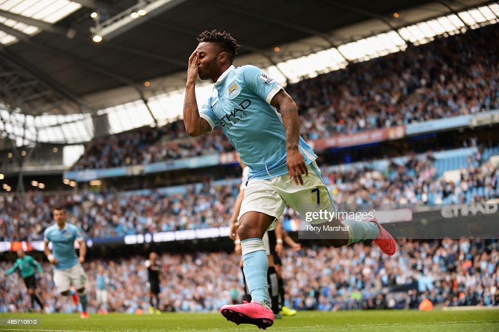 Raheem Sterling of Manchester City celebrates scoring his team's first goal with his team mates during the Barclays Premier League match between Manchester City and Watford at Etihad Stadium on August 29, 2015 in Manchester, England.
