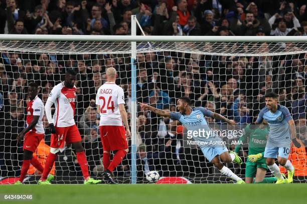 Raheem Sterling of Manchester City celebrates scoring the first goal to make the score 10 during the UEFA Champions League Round of 16 first leg...