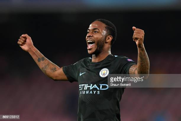 Raheem Sterling of Manchester City celebrates victory after the UEFA Champions League group F match between SSC Napoli and Manchester City at Stadio...